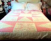 Hand Embroidered Full Sized Quilt /Pink and White Hand Quilted Quilt with Embroidery /Full Size Very Feminine