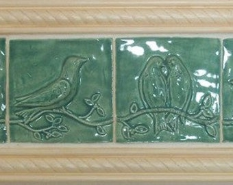 Ceramic Tiles -- Birds on a Vine Relief  Architectural  Tiles -- Set of Four in Pottery Patina Glaze, IN STOCK