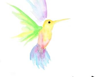 Dream Hummingbird - OOAK Original Watercolor Spirit Animal