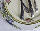 Vintage Mismatched China and Mismatched Silverware China Cottage Chic shipping delay until June 30th