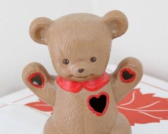 ON SALE Vintage I Love You Ceramic Teddy Bear Nightlight