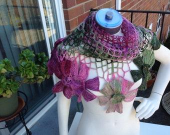 Accessories,Shawl,Net Floral Triangular Shawl,Mohair,Pink Green,Subtle Shine,BohoChic,Elegant Chic Beautiful Shawl,FREE Shipping in the US