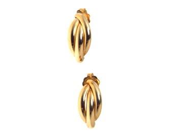 Triple Link Half Huggy Post Earrings in 14k Gold