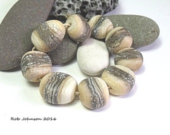 Snake Rock Pass, Lampwork Pebble Beads, SRA, UK