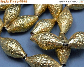 WINTER SALE Afghanistan Kuchi Large Tribal Bicone Biconical Bead Gold Wash Jewelry Making Supply Uber Kuchi