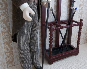 Gentleman's Glass Bauble Cane Walking Stick in1:12 Scale for Dollhouse Miniature Doll or Hall