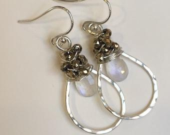 Moonstone and gold hemetite earrings