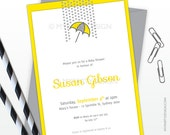 Love Rain Baby Shower Invitation - Neutral Baby Shower - Yellow and Grey - PRINTABLE JPEG or PDF file