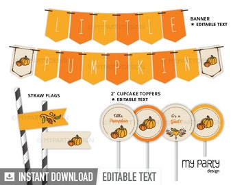 Little Pumpkin Baby Shower - Party Pack - Neutral Baby Shower - Fall Party - INSTANT DOWNLOAD - Printable PDF with Editable Text