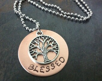 Blessed stamped copper tree necklace