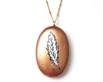 Feather Pendant Necklace on long Gold Chain