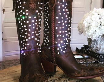 Rhinestone cowboy boots custom riveting