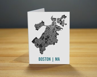 Boston Map Note Card Stationary A2