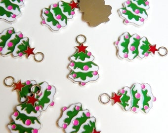 10 Colorful Christmas tree charms enamel and silver finish holiday 27x15mm DB19300