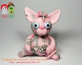 Minxie. Sphynx Cat Zombie Doll. Hand Sculpted from Polymer Clay.