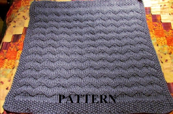 Knit Baby Blanket Pattern, Knitting Pattern, Chunky Yarn, Knit Purl Stitch On...