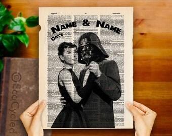 Audrey Hepburn Darth Vader Star Wars with Names & Date Vintage Upcycled Dictionary Art Print Book Art Print Wedding Anniversary Romance Geek