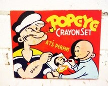 1933 tin crayon box popeye king feature syndicate shabby lithography