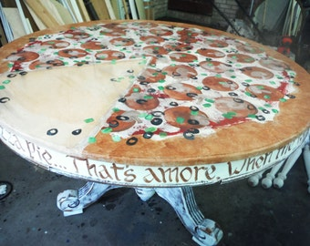 Custom Hand Painted Pizza dining room table OOAK foodie Italian pepperoni and olive fun kitchen Jeannie Rounsefell Southcentric