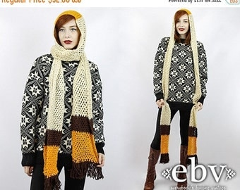 Vintage 70s Crochet Knit Hooded Scarf Crochet Scarf Knit Scarf 70s Scarf Vintage Scarf Christmas Gift Handmade Scarf Holiday Gift
