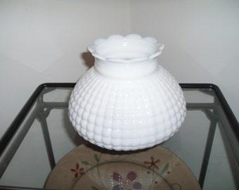 Vintage Milk Glass Hurricane Lamp Shade Style Vase