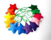 12 Puffy Felt Star Ornaments Handmade Set of 12  Bowl fillers  Rainbow Stars Kids Wedding favor NEW CHILD SAFE