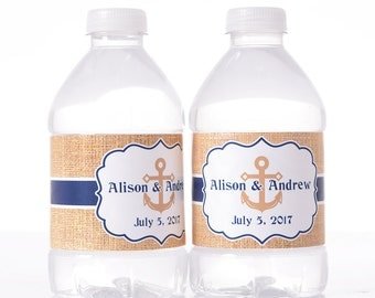 30 Wedding Water Bottle Labels - Wedding Water Labels - Custom Water Bottle Labels - Waterproof Water Bottle Labels
