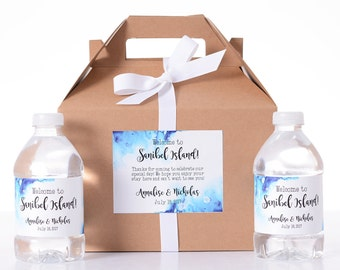 Hotel Guest Box - 10 Wedding Favor Box / Welcome Box Labels Gable Wedding Box Set with 20 Water Bottle Labels - Beach Wedding Gifts