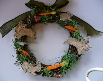 Spring Easter Garden Wreath with Bunnies and Carrots