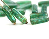 Picasso stick beads, Blue Green rustic czech glass, long tube beads, rectangle - 15x5mm - 15Pc - 2354