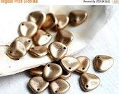 30%OFF SALE Golden Rose Petals, czech glass beads - Matte Gold - 8x7mm,  small petal beads, spacers, top drilled- 20Pc - 1302