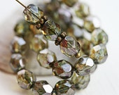 30pc Antique Green, Picasso beads, Siam, Fire polished, 6mm round beads, czech glass spacers, faceted - 1846