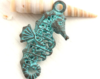 Large Seahorse Double sided pendant, Filigree, Verdigris patina, Greek meal casting seahorse charm - 1Pc - F491