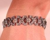 Vintage Art Deco Bracelet Rhinestones On Silver Plate Geometric Link Bracelet 1930s Art Deco French Jewelry Glam Bridals