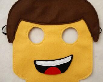 10 Lego inspired masks birthday Party bag filler favor Lego movie Emmet Wyldstyle and other Character masks Lego spacemen mask