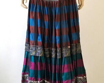 1970's Koos Van Den Akker Couture Silk Tiered Maxi Skirt
