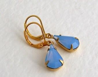 Blue Opal Earrings ... cornflower blue, pastel earrings, teardrop earrings