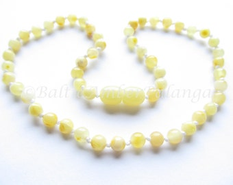 Baltic Amber Baby Teething Necklace Perfectly Rounded White/Yellow Beads
