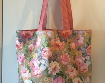 "Pastel Pink Roses Cotton Fabric Print 14"" x 14"" Handmade Tote Bag"