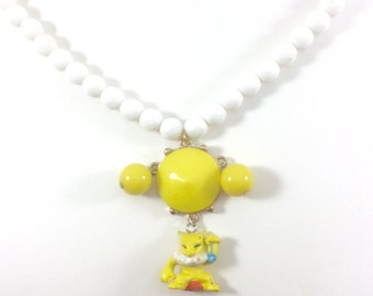 Awesome Hypno Pokemon Glass Beaded Necklace Made with Vintage Jewelry - OOAK