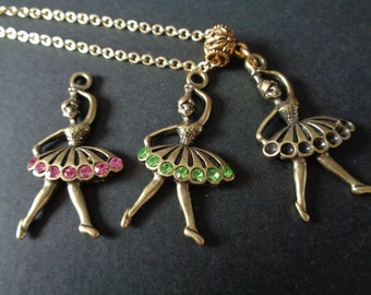 Ballet Dancer Pendants! Dancer Charm, Birthstone Crystals, Pendants! Birthday Gifts, Holiday Gifts, Girls Gifts, Dance Teacher Gifts
