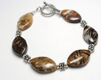 Ocean Jasper & Sterling Silver Bracelet, Handmade Beaded Ocean Jasper Gemstone Bracelet, Earthtone Ocean Jasper Bracelet