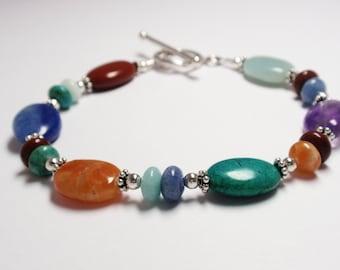 Multi Semi Precious Gemstone Bracelet, Multi Color Bracelet