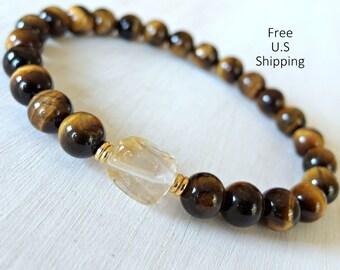 Prosperity Bracelet, Men's Bracelet, Citrine Tiger eye, Yoga, energy bracelet, Sacral chakra, wrist mala, buddhist bracelet, prayer beads