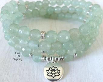 Aventurine Mala, 108 beads, Mala Bracelet or Necklace, Reiki, Buddhist Rosary, Prayer beads, Gemstone, wrist mala, Lotus, buddha, ohm, om