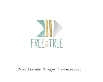 Custom Logo Design Premade Logo and Watermark for Photographers and Small Businesses Watercolor Watercolor Bohemian Arrow Tribal Teal & Gold