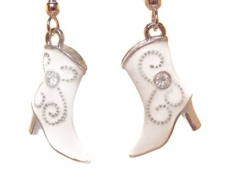 Cowgirl Up with these Darling Cowgirl Boot Earrings in White, Black, Pink, Purple or Red