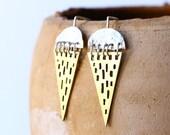 brass earrings - triangle earrings - tribal geometric earrings