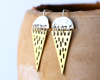 brass earrings - triangle earrings - tribal geometric earrings