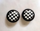 Vintage 1980s Black White Checkerboard Earrings Ska Pierced